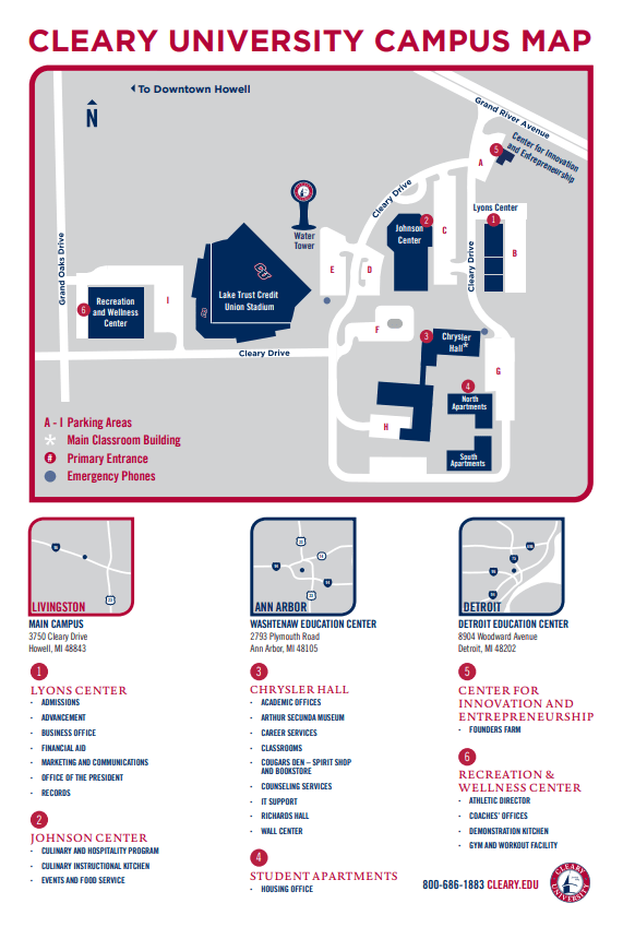 Jenks High School Campus Map.Campus And Education Center Locations Cleary University